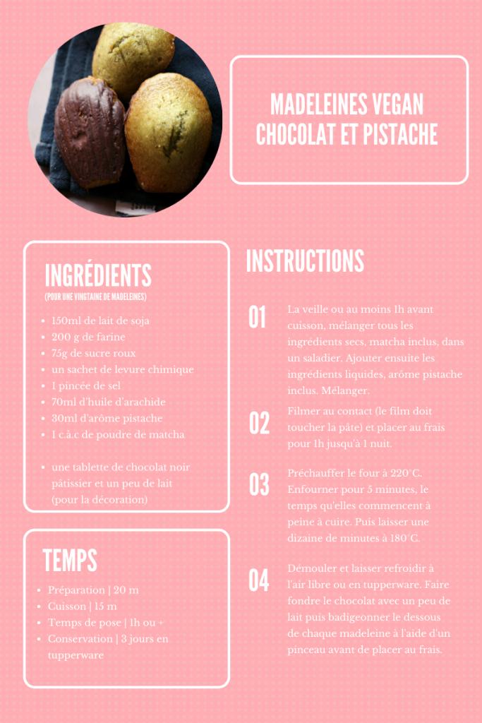 recette madeleine vegan chocolat pistache